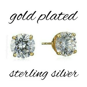 2ct Sterling Silver CZ Stud Earrings + Gold Plated
